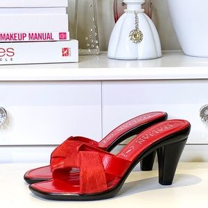 Italian Shoemakers Red Square Toe Slip On Sandals